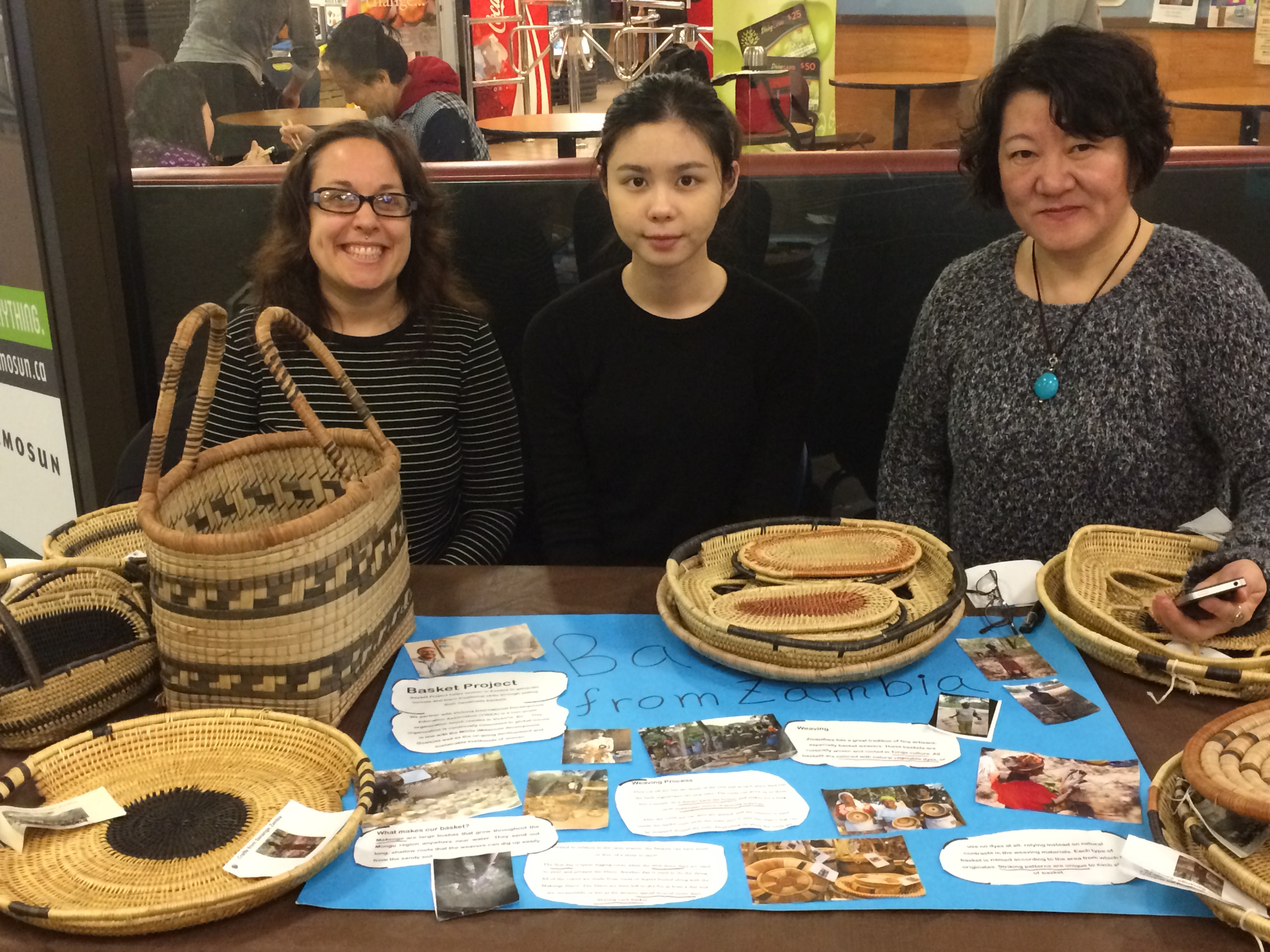 Students selling baskets at Camosun College