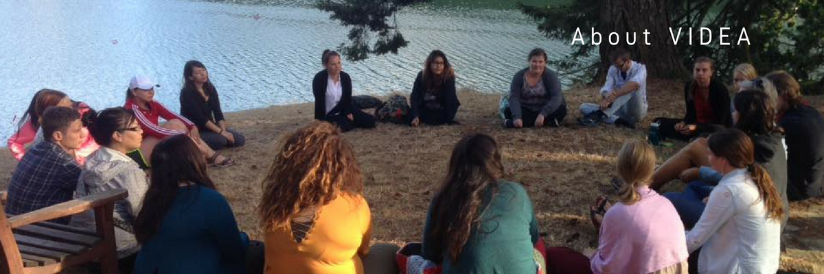 Photo of youth sitting in a circle on the ground with text 'About VIDEA'