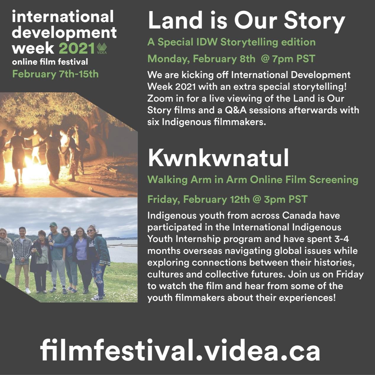 Poster for VIDEA's International Development Week virtual Film Festival.